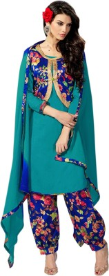 Thankar Jacquard Embroidered Semi-stitched Salwar Suit Dupatta Material