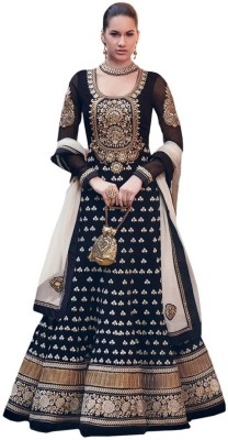 SalwarSaloon Georgette Self Design Salwar Suit Dupatta Material