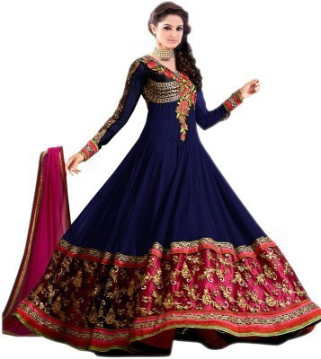 Avadh Fashion Georgette Embroidered Semi-stitched Salwar Suit Dupatta Material