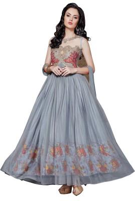 Fladorfabric Chiffon Embroidered Semi-stitched Salwar Suit Dupatta Material