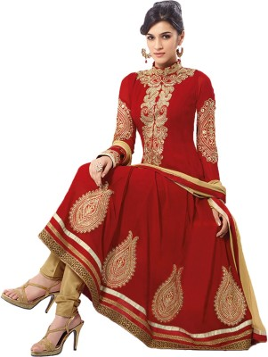 Indian Wear Online Georgette Embroidered Semi-stitched Salwar Suit Dupatta Material