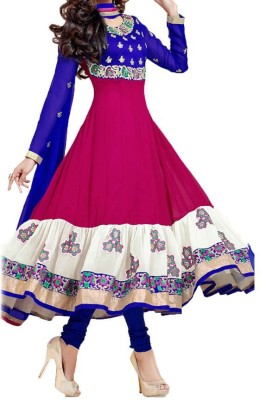 Giyya Fashion Georgette Embroidered Semi-stitched Salwar Suit Dupatta Material