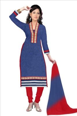 Angel Designer Cotton Embroidered Semi-stitched Salwar Suit Dupatta Material