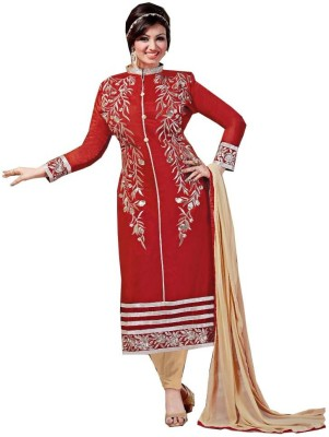 Fladorfabric Silk, Chanderi Embroidered Semi-stitched Salwar Suit Dupatta Material