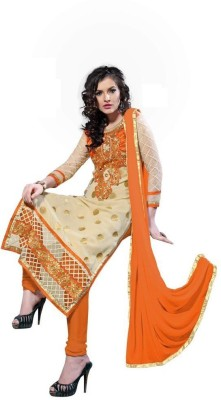 Fladorfabric Net, Georgette Embroidered Semi-stitched Salwar Suit Dupatta Material