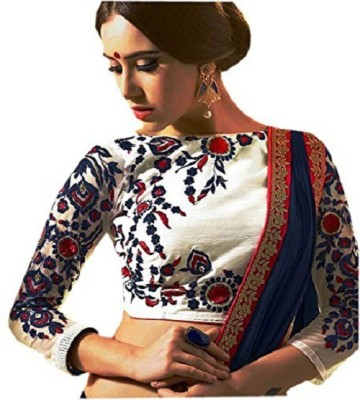 Drapme Cotton Polyester Blend, Georgette Embroidered Blouse Material