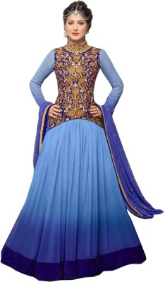 Rozdeal Georgette Embroidered Semi-stitched Salwar Suit Dupatta Material