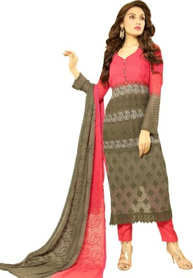 Ladyview Chiffon Embroidered Semi-stitched Salwar Suit Dupatta Material