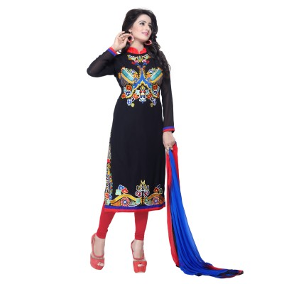 fashion ritmo Georgette Embroidered, Self Design Semi-stitched Salwar Suit Material