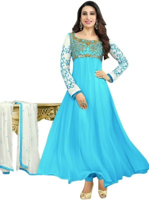 Zenny Creation Georgette Embroidered Semi-stitched Salwar Suit Dupatta Material