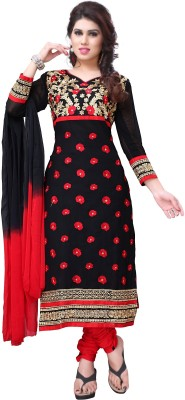 Nine Threads Georgette Embroidered Semi-stitched Salwar Suit Dupatta Material