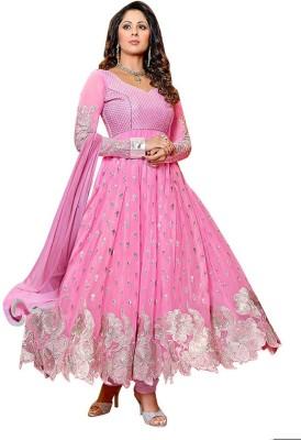 Manshvi Fashion Georgette Embroidered Semi-stitched Salwar Suit Dupatta Material