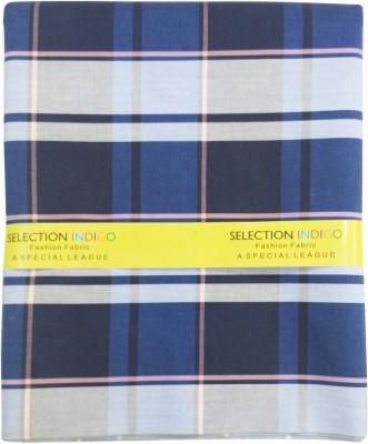 Selection Indigo Cotton Checkered Shirt Fabric