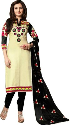 JS Pavitra Fabrics Cotton Embroidered Salwar Suit Dupatta Material