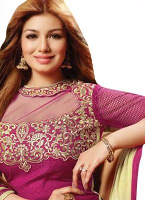 Fashion World Net Embroidered Semi-stitched Salwar Suit Dupatta Material