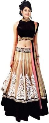 Colour Trendz Net, Velvet Embroidered Semi-stitched Lehenga Choli Material