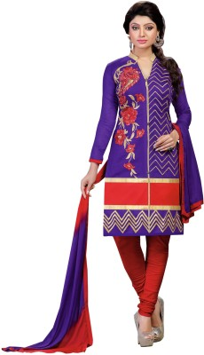 Aai Shree Khodiyar Art Cotton Embroidered Semi-stitched Salwar Suit Dupatta Material