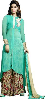 Kryptos Online Georgette Embroidered Semi-stitched Salwar Suit Dupatta Material