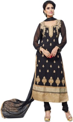 Khantil Georgette Embroidered Semi-stitched Salwar Suit Dupatta Material