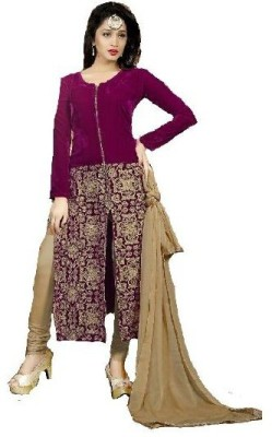 Shafie Velvet Embroidered Salwar Suit Dupatta Material