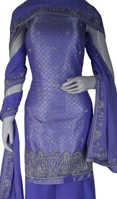 Haleema Crafts Silk Woven, Embroidered Salwar Suit Material
