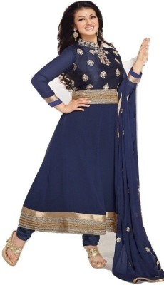 Mert India Georgette Embroidered Semi-stitched Salwar Suit Dupatta Material