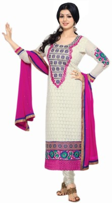 Monika Silk Mill Georgette Self Design Semi-stitched Salwar Suit Dupatta Material