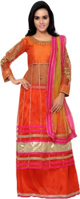 MF Retail Net Embroidered Semi-stitched Salwar Suit Dupatta Material