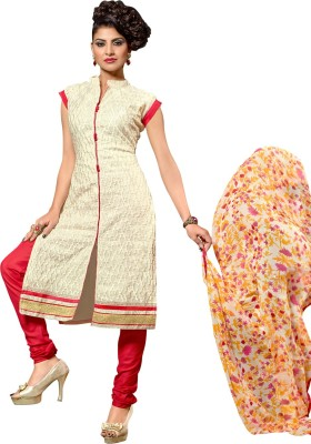 Saara Cotton Silk Blend Embroidered Salwar Suit Dupatta Material(Un-stitched) at flipkart