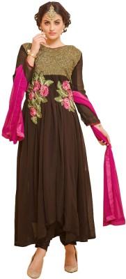 Fabfirki Georgette Embroidered Semi-stitched Salwar Suit Dupatta Material
