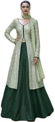 VH Fashion Cotton Silk Blend Embroidered Semi-stitched Salwar Suit Dupatta Material