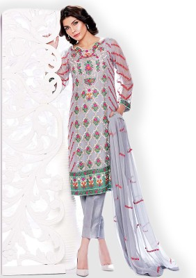 Thankar Georgette Embroidered Semi-stitched Salwar Suit Dupatta Material