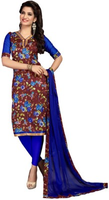 Trendz Apparels Silk Printed Dress/Top Material