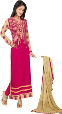 Nm Textile Georgette Embroidered Semi-stitched Salwar Suit Dupatta Material