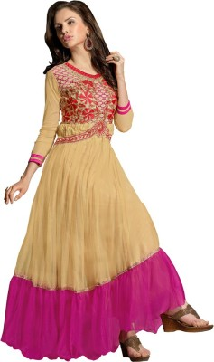 Style Mania Net Embroidered Gown & Waistcoat Material