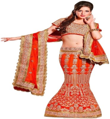 Silica Synthetic Embroidered Lehenga Choli Material
