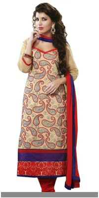 GoAavaran Cotton Silk Blend Embroidered Salwar Suit Dupatta Material