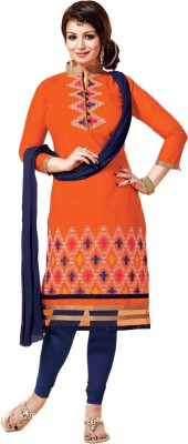Shahlon Cotton Embroidered Semi-stitched Salwar Suit Dupatta Material