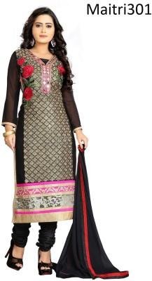 Maitri Fashion Georgette Embroidered Semi-stitched Salwar Suit Dupatta Material