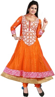 Lady Shop Net Embroidered Semi-stitched Salwar Suit Dupatta Material