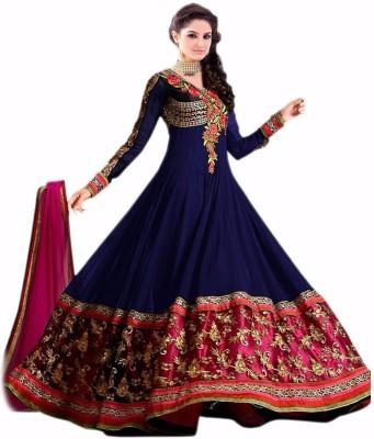 Hari Krishna Enterprise Georgette Embroidered Semi-stitched Salwar Suit Dupatta Material