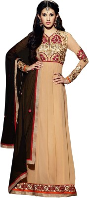 The Fashion World Georgette Embroidered Semi-stitched Salwar Suit Dupatta Material