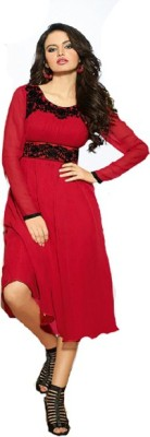 RUTVI ENTERPRISE Georgette Embroidered Semi-stitched Gown & Salwar Material