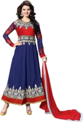Fab Valley Georgette Embroidered Semi-stitched Salwar Suit Dupatta Material