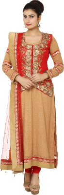 Kcs Synthetic Georgette Embroidered Semi-stitched Salwar Suit Dupatta Material