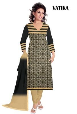 KrishnaFashion321 Cotton Embroidered Semi-stitched Salwar Suit Dupatta Material