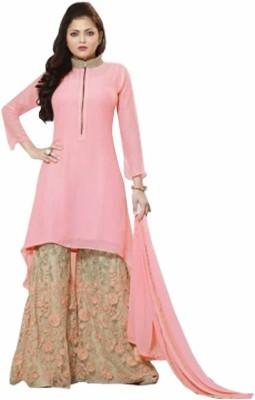 Shreeji Fashion Georgette Embroidered Semi-stitched Salwar Suit Dupatta Material