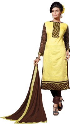 Elevate Women Chanderi Embroidered Semi-stitched Salwar Suit Dupatta Material at flipkart
