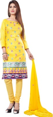 Li Te Ra Cotton Embroidered Semi-stitched Salwar Suit Material