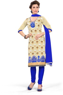 Desi Look Chanderi Embroidered Semi-stitched Salwar Suit Dupatta Material